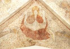 Jugement dernier. A g.du Christ, la Vierge. A dr., St Jean-Baptiste