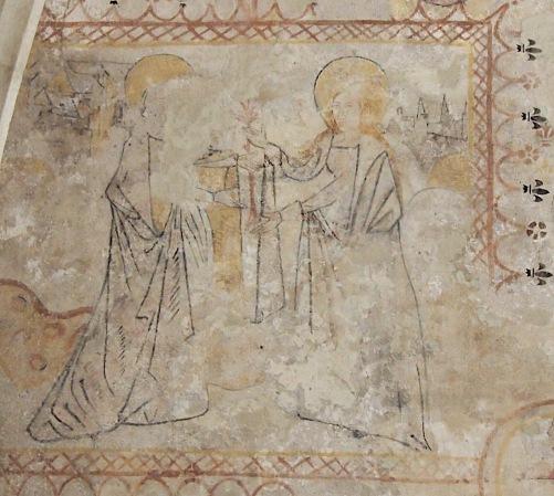 Marie, enceinte de Jésus, rend visite à sa cousine Elisabeth, enceinte de Jean Baptiste.